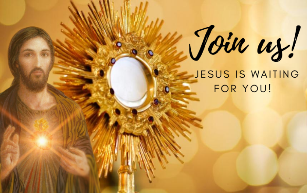 Come to Eucharistic Adoration!  October 19th from 6-8pm