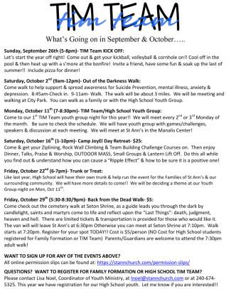 TIM Team September & October 2021 Events