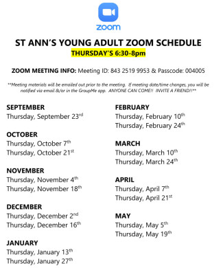 Young Adult Zoom Meeting Schedule 2021-2022