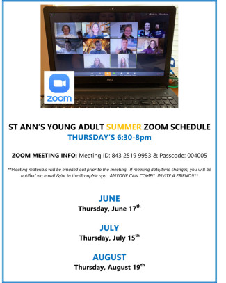 Young Adult Zoom Meeting Schedule Summer 2021